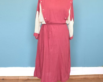 Vintage 80's Dusky Pink Mesh Detailed Batwing Dress UK Size 10