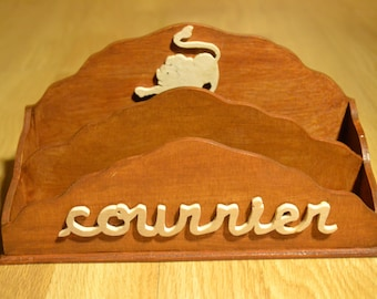 wooden mail holder / desk accessory / personalized gift / decorative zodiac sign