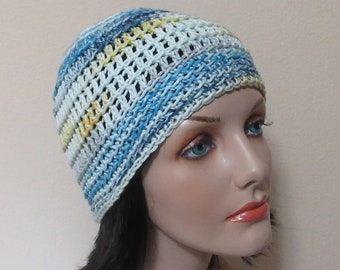 Cotton Crocheted Hat, Spring Beanie, Summer Hat, Blue White Yellow Crochet Beanie