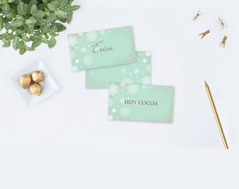 Place Card Template, Editable Acrobat Name Cards Food Tent Card Winter Baby Shower Gender Neutral Party Decor Escort Cards, Seating Cards