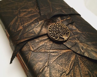 REAL LEATHER JOURNAL Tree of Life Pendant Personalized Rustic Leather Sketchbook Notebook Wedding Guest Book Travel Journal in Black Gold