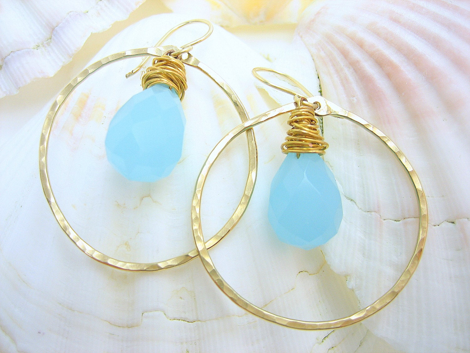 Gypsy hoop hammered gold earrings with aqua blue chalcedony genuine gemstone, dangle open circle artisan handmade hammered gold earrings