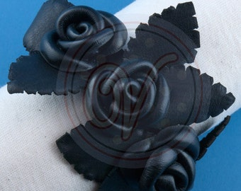 Genuine Leather roses on leather strap bracelet
