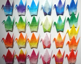 100 Large Origami Cranes Origami Paper Cranes - Made of 15cm 6 inches Japanese Paper - Harmony