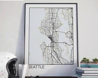Seattle, Washington Minimalist City Map Print