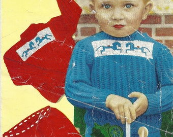 Bestway 3600  Vintage Knitting Pattern Original Jumper Sweater with Horse Motif and Shorts