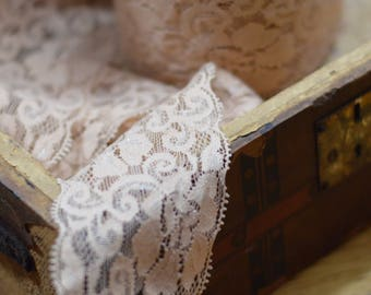 10 yard roll of champagne nude lace elastic trim