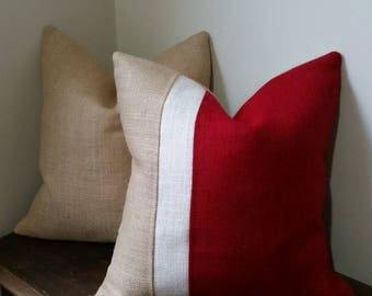 Burlap Color-block Pillow Cover - Many color choices to choose from