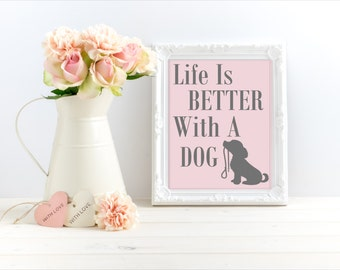 Life Is Better With A Dog. Dog prints. Dog quotes. Dog lover gifts. Dog lover art. Puppy prints. Puppy art. Dog owners gift.