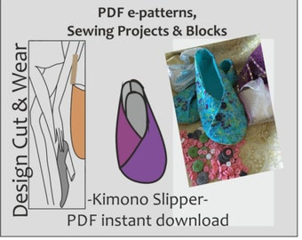 Slipper Style Kimono Shoe PDF Pattern Download - UK Sizes 3 to 8 US sizes 5 to 10 - Fully Illustrated Detailed Sewing Instructions