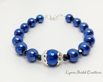 Blue Pearl Bracelet Royal Blue Jewelry Bridesmaid Gift Wedding Jewelry Black Crystal Bracelet Pearl Wedding Accessory Bridesmaid Bracelet