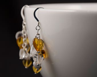 Sterling Silver and Glass heart earrings