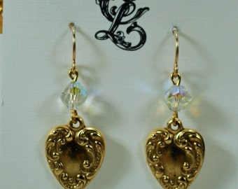 Romantic Victorian Aurora Borealis Gold Heart Crystal Earrings, Classy Valentine Downton Abbey Dangles, Sweetheart Gold Scrollwork Earrings