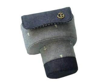 Camera Case Bag - Custom Fujifilm / Nikon / Canon / DSLR / SLR / DC Camera Case Bag - Dark Gray Anchor Pattern
