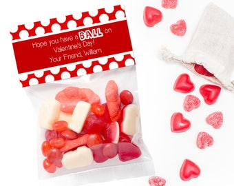 Personalized Valentine Treat Bag Topper, Have a BALL