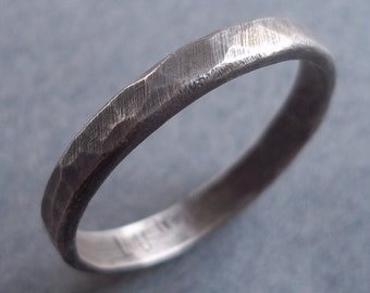 Simple Hammered Band.  Sterling Silver