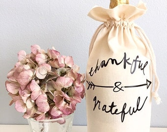 Thank you gift Wine gift Bridal party gifts Thankful and Grateful