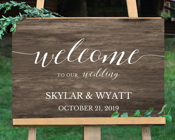welcome wedding sign printable woodboard wedding sign. Black Bedroom Furniture Sets. Home Design Ideas