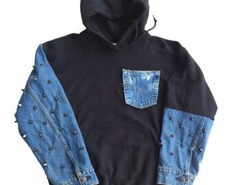 Studded Denim Sweatshirt