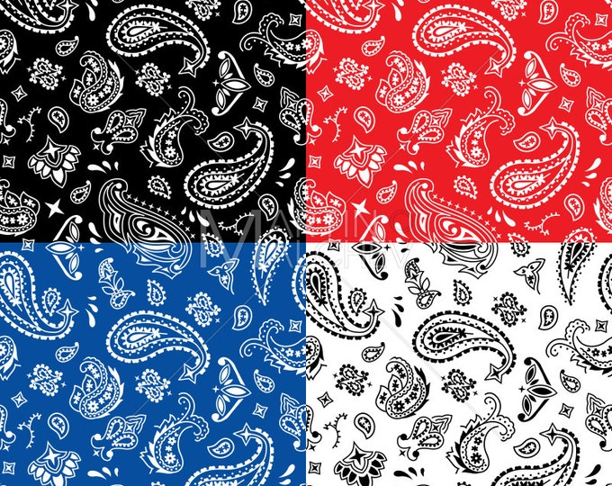 Bandana Seamless Pattern - Vector Clipart Illustration. bandanna, pattern, seamless, background, tile, tiled, western, gang, print, fabric,