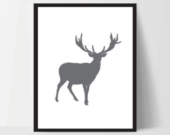 Printable, Minimalist Forest Deer, Wall Art, Artwork, Home Decor, Modern Print, Print Art, Nature Art, Living Room, Digital Print, 12x16