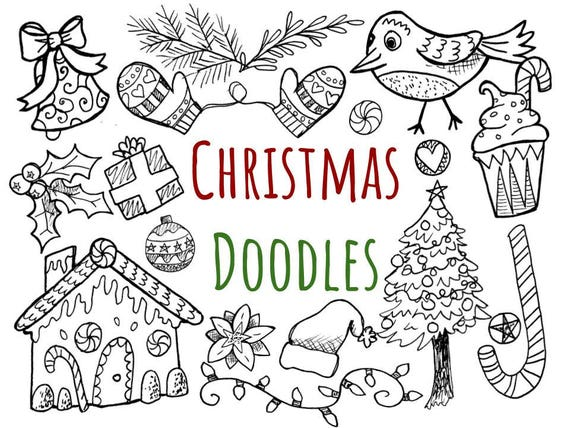 hand drawn christmas doodles clip art hand drawn christmas rh etsy com KPM Doodles Clip Art Back to School Doodles