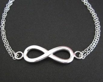 Infinity Bracelet. Eternity Infinity Bracelet. Sterling Silver Jewelry. Double Chain Bracelet. Large Infinity Charm. Bridesmaid Bracelet.
