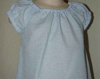 Seersucker Peasant Dress, Blue and White Stripe, 12 18 2 3 4 5 6
