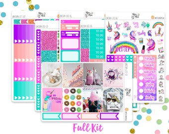 Unicorn Life Photo Kit- A LA CARTE- Vertical Weekly Kit Planner Stickers; Bright, Fun