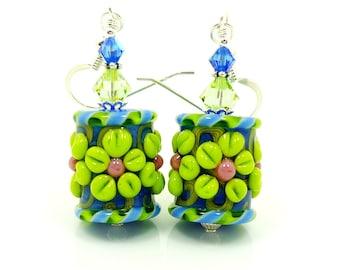 Blue Lime Earrings, Floral Earrings, Barrel Earrings, Lampwork Earrings, Glass Earrings, Glass Bead Earrings, Flower Earrings