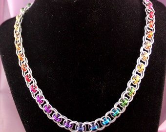 Silver & Rainbow Ombre Chainmaille Necklace - Aluminum - Helm - Chainmail Jewelry