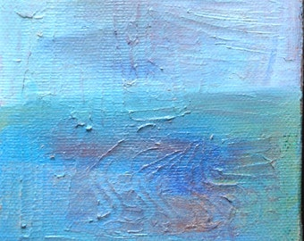 Mini Original Oil Landscape Painting: Blue Sea