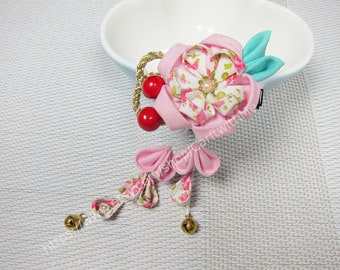 DIY Kit Japanese Tsumami Kanzashi Flower Hair Clip / Kimono Accessories / Fabric Flower / Geisha #101