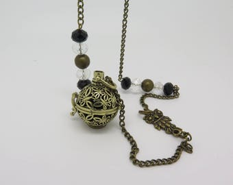 BOLA DE GROSSESS bronze chain adorned with glass bead, OWL gift MOM