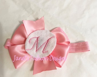 Monogrammed Initial Hairbow Clip - Personalized Baby Bows Girl - Pinwheel Hair Bow Clip