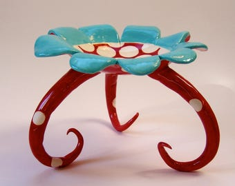 whimsical ceramic Soap Dish, candleholder, serving dish :) alice in wonderland red & turquoise polka-dots tall curly legs