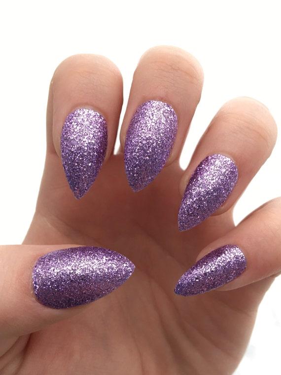 Fake nails press on nails purple nails glitter nails