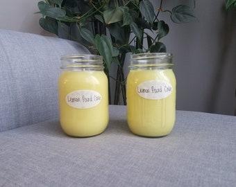 Lemon Pound Cake 12 oz Soy Candle, Mason Jar Candle, Summer Candle, Lemon Pound Cake Candle, Soy Candle