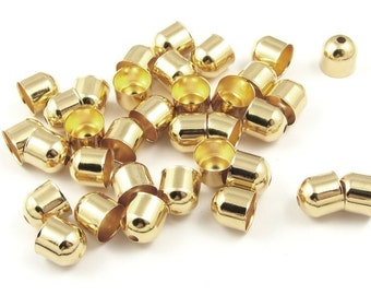 Cord End Caps 36 Gold Plated 8mm End Caps Kumihimo Supplies (FS22)