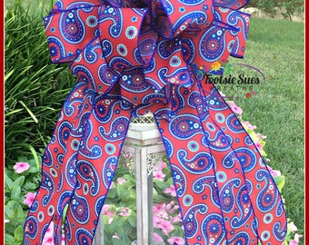 Red White Blue Paisley Bow, Patriotic Bow, 4th of July Bow, Memorial Day Bow, Mail Box Bow, Veterans Day Bow, Lantern Bow, Wreath Bow