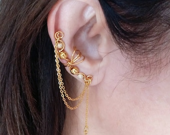 Gold  Ear Cuff with Chain 24K Gold plated Ear Wrap