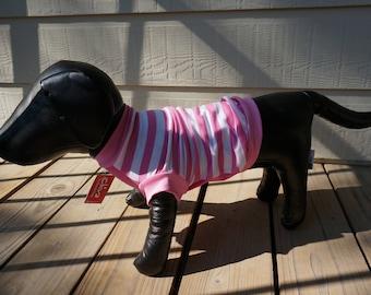 Pet T-shirt/ Pink & White Stripes