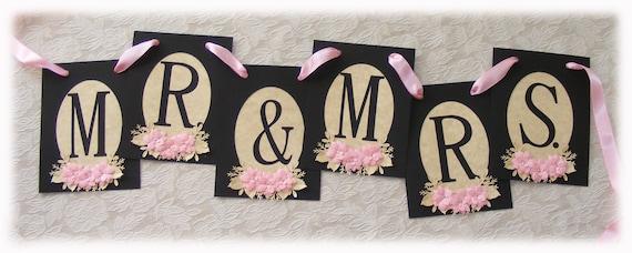 MR & MRS Victorian Black and Pink Wedding banner, Sweetheart table banner, Elegant Wedding banner, Traditional wedding, Formal wedding