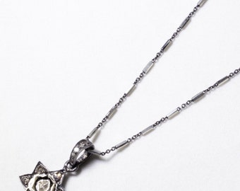 Diamond Star of David Genuine Diamond Necklace Real Diamond Necklace Oxidized Silver Necklace Precious Diamond Necklace PD-N-108-os