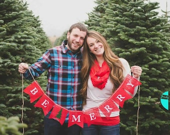 Christmas burlap banner, Be MERRY, winter, photo prop, holiday, name banner, rustic home decor, red burlap, birthday