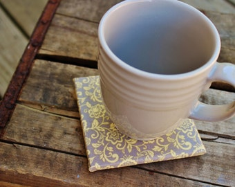 Yellow grey vintage shabby chic floral coaster set