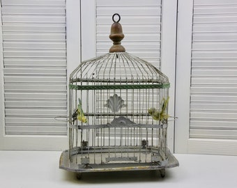 Antique Wire Bird Cage Canary Finch Domed Cage Decorative Cage #55