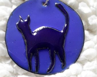Craft copper enamel cat necklace pendant