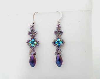Crystal Dangle Briolette Earrings in Purple and Turquoise