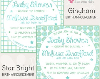 Gingham / Star Bright Baby Shower Invitation